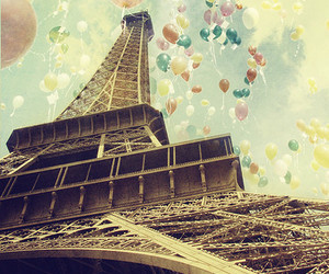 baloon, sky, and the eiffel tower image