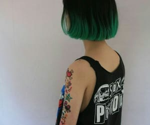hair, green, and tattoo image