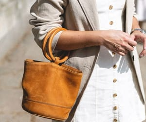 white dress, summer is here, and light brown bag image