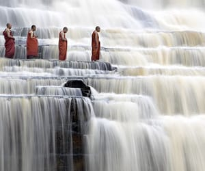 waterfall, monk, and water image