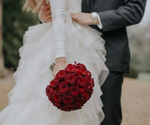 bouquet, just married, and roses image