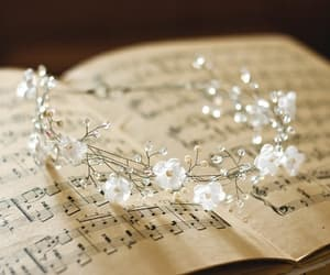 music, flowers, and crown image