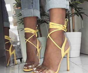 heels, yellow, and white nails image