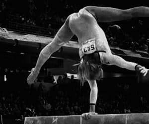 gymnastics, gif, and balance beam image
