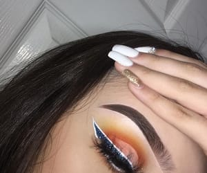 brunette, eyeliner, and glitter image