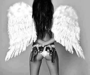 angel, gun, and wings image