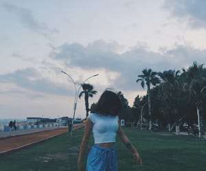 girl, palm, and trees image