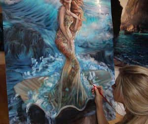 art, mermaid, and painting image