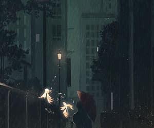 girl, night, and rain image