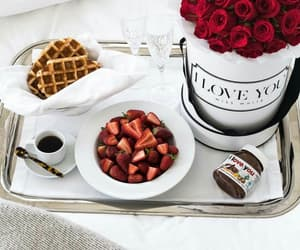 food, strawberry, and flowers image