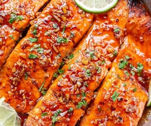 food, honey, and salmon image