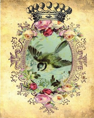 bird, flowers, and vintage image