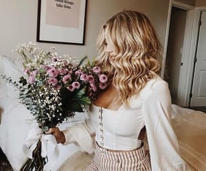 blonde, fashion, and flowers image