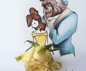 beast, belle, and flowers image