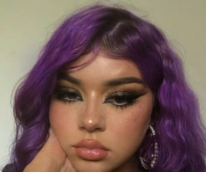 makeup, hair, and purple image