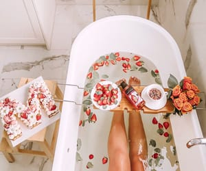 bath, strawberries, and relax image