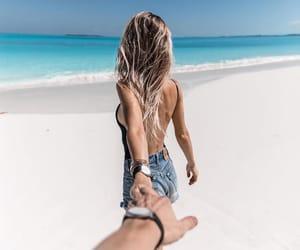 beach, hair, and sea image