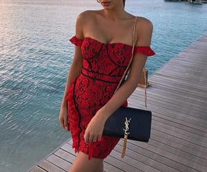 fashion, red dress, and summer dresses image