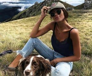 girl, dog, and travel image