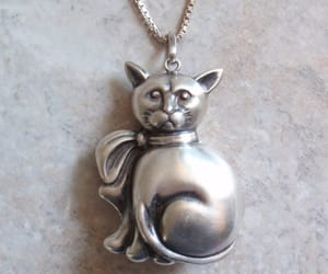 etsy, vintage necklace, and kitty necklace image