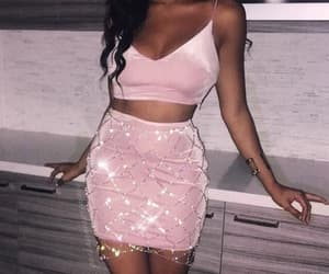bling, pink, and dress image