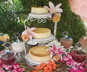 cheesecake, flowers, and tropical image