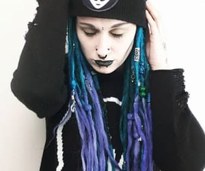 blue dreads, dreadlocks, and goth image