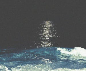 night, moon, and sea image