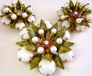 brooch, flower, and pearls image