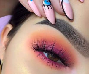 makeup, orange, and nails image
