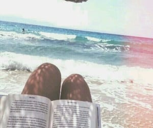 beach, summer, and book image