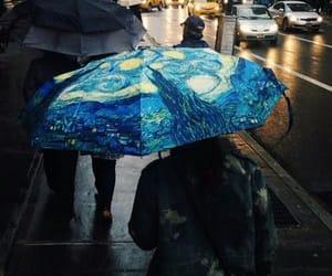 art, umbrella, and van gogh image