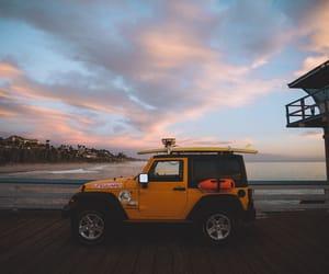 beach, car, and sea image