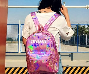 backpack, pinkish, and style image