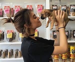 girl, dog, and puppy image