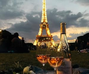 paris, eiffel tower, and wine image