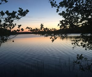 lake, sunset, and sweden image