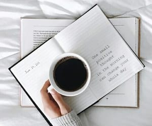 coffee, book, and white image
