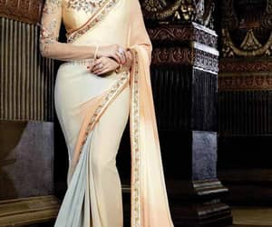 georgette saree, embroidary saree, and double colour saree image