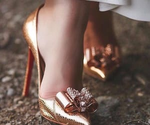 gold, heels, and love image