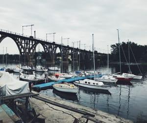 boat, bridge, and river image