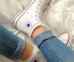 chuck taylor, white, and converse all stars image