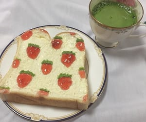 breakfast, strawberries, and toast image