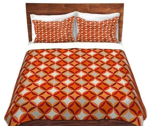 bed, pattern, and sham image