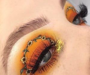 makeup, yellow, and eyes image