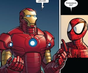 comic, spiderman, and tony stark image