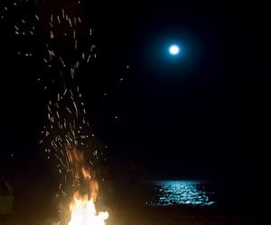 beach, sea, and fire image