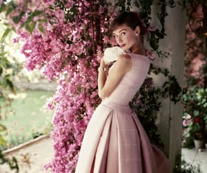 audrey hepburn, pink, and flowers image
