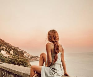 girl, hair, and landscape image