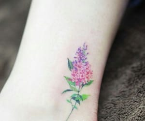 flowers, tattoo, and purple image